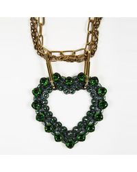 Lanvin - Green Blue & Gold Tone Brass & Crystal Heart Pendant Statement Necklace - Lyst