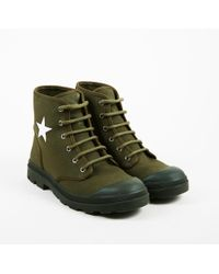 Givenchy - Mens Green Canvas Star Print Lace Up Boots - Lyst