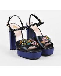 443377be2c Ted Baker Kerrias Blue Suede Cobalt Block Heel Sandal in Blue - Lyst