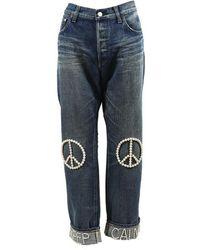 Tu Es Mon Tresor - Blue Denim Faux Pearl Peace Skinny Jeans - Lyst
