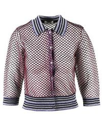 Jourden - Multicolor Metallic Fishnet Striped Polo Cardigan - Lyst