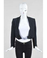 Balmain - Black Cotton Blend Metallic Pinstripe Double Breasted Crop Jacket - Lyst
