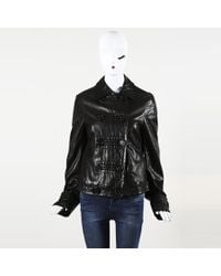 Michael Kors - Leather Buttoned Moto Jacket - Lyst
