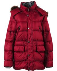 Canali - Red Nylon Down Raccoon Fur Hooded Puffer Coat - Lyst