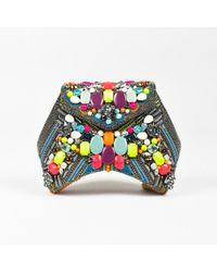 "Beavaldes - Nwot Gray Multicolor Suede Beaded Embellished ""betelgeuse"" Minaudiere - Lyst"