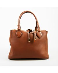 0729bcfe306d Michael Kors - Brown   Gold Tone Leather Top Handle