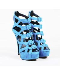 "Giuseppe Zanotti - Blue Suede Buckled ""jake"" Platform High Heel Sandals - Lyst"