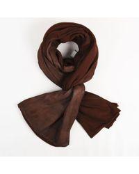 Urban Zen - Brown Goatskin & Knit Wrap Scarf - Lyst