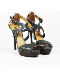 Ralph Lauren Collection - Green Leather Peep Toe Strappy Sandals - Lyst