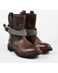 Brunello Cucinelli - Brown Leather Monili Beaded Strap Moto Boots - Lyst
