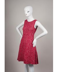 Chanel - Red Pink Sleeveless Jacquard Knit Pleated Sweater Dress - Lyst