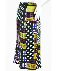 Marni - Nwot Green Multicolor Mixed Plaid Checkered Print Midi Skirt - Lyst