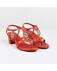 adb16c350c21 Chanel - Red Patent Leather Chain Link Strappy Block Heel Sandals - Lyst