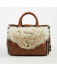 Diane von Furstenberg - Tobacco Brown Leather & Shearling Mini Secret Agent Tote - Lyst