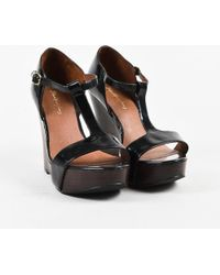 Elizabeth and James - Black Patent Brown Leather T Strap Wedge Sandals - Lyst