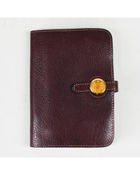 """Hermès - """"havane"""" Brown Clemence Leather """"dogon Compact Shadow"""" Wallet - Lyst"""