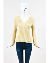 Akris - Gold Silk Ribbed Knit Pullover V Neck Sweater Top - Lyst