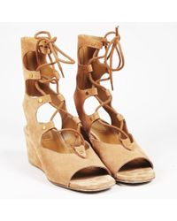 a27367ec2b3 Chloé - Brown Suede Peep Toe Lace Up Wedge Sandals - Lyst