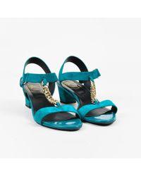 "Roger Vivier - ""turquoise"" Blue Suede ""sandal Chain Geometric"" Sandals - Lyst"