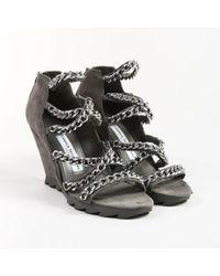 Camilla Skovgaard - Grey Nubuck Leather Enchained Wedge Sandals - Lyst