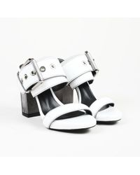 """Barbara Bui - """"buckle"""" White Leather Sandals - Lyst"""