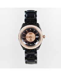 Versace - Grey Ceramic Rose Gold Stainless Steel Diamond Watch - Lyst