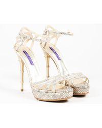 """Ralph Lauren - Gold Python """"blessa"""" Platform High Heel Sandals - Lyst"""