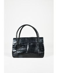 Nancy Gonzalez - Black Crocodile Skin Top Handle Satchel Bag - Lyst