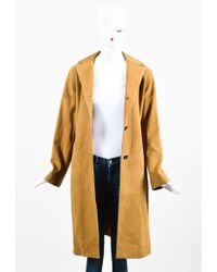 Marni - Camel Tan Grained Leather Button Down Long Sleeve Coat Jacket Sz 38 - Lyst