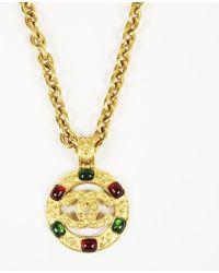 Chanel - 2004 Gold Tone Gripoix 'cc' Necklace - Lyst