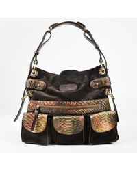 Ghurka - Brown Suede Python Trim Multi Pocket Shoulder Bag - Lyst