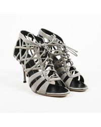 2b3064892e3 Giuseppe Zanotti - Gray Leather Caged Sandals - Lyst