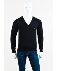 Givenchy | Black Wool Distressed Knit V Neck Sweater | Lyst