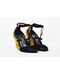 Tom Ford - Black Suede Spike Detail Cross Strap Faux Wedge Sandals - Lyst