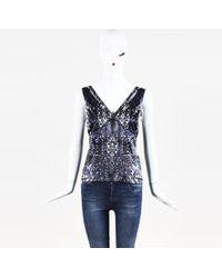 Roberto Cavalli - Beaded & Printed Silk Blend Top - Lyst