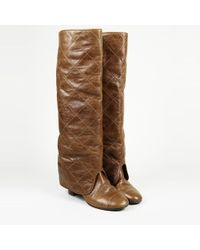 Chanel - Quilted Leather Knee High Boots - Lyst