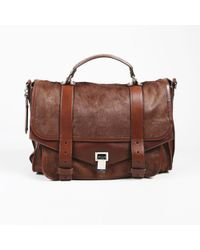 "Proenza Schouler - ""chocolate"" Brown Calf Hair & Calfskin ""medium Ps1"" Satchel - Lyst"