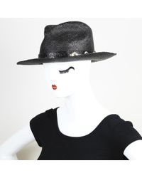 HTC Hollywood Trading Company - Hollywood Trading Co. Black Straw Studded Hat - Lyst