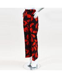 Marni - Black & Red Silk Leaf Print Straight Leg Trousers - Lyst