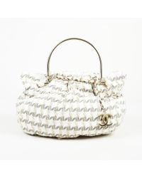 efe112da602bfa Chanel Two Tone Quilted Leather And Fabric Flap Bag - Lyst