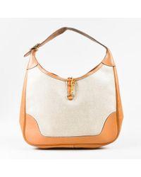 """Hermès - Vintage Beige Tan Box Calf Leather Canvas """"trim 31"""" Bag - Lyst"""