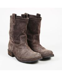 Fiorentini + Baker - Gray Suede Low Heel Ankle Boots - Lyst