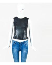 J. Mendel - Black Leather Paneled Round Neck Sleeveless Top - Lyst