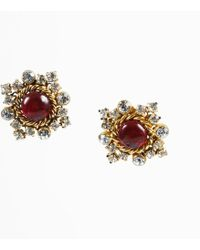 Chanel - Vintage 1984 Red & Gold Tone Gripoix & Crystal Round Clip On Earrings - Lyst