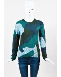 Risto - Nwot Green Multicolor Wool Mohair Abstract Long Sleeve Sweater Top - Lyst