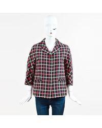 Marni - Black Pink & White Cotton & Silk Plaid Buttoned Jacket - Lyst