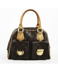 "Louis Vuitton - Brown Monogram Canvas & Leather ""manhattan"" Pm Bag - Lyst"
