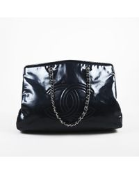 """Chanel - Navy Patent Vinyl """"quilted Accented"""" Leather """"lipstick Linge Xl"""" Tote - Lyst"""
