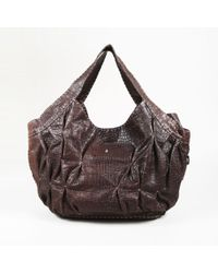 Henry Beguelin - Brown Embossed Leather Pleated Bag - Lyst