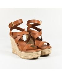 Ralph Lauren - Collection Brown Leather Ankle Wrap Espadrille Wedge Sandals - Lyst